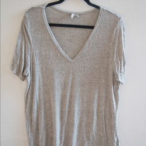 Asos Grey V-Neck T-Shirt - Size UK 14 / US 10